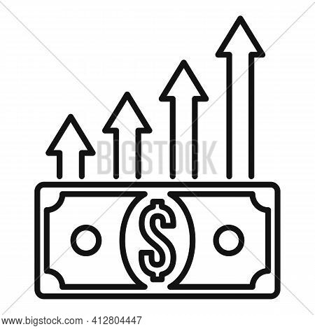 Financial Growing Icon. Outline Financial Growing Vector Icon For Web Design Isolated On White Backg