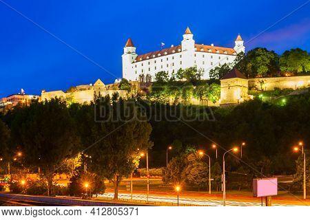 Bratislava, Slovakia - May 11, 2017: Bratislava Castle Or Bratislavsky Hrad Is The Main Castle Of Br