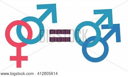 The Concept Of Male And Female Equality. Equality Of Gay Men And Traditional Relationships. Equal Ri