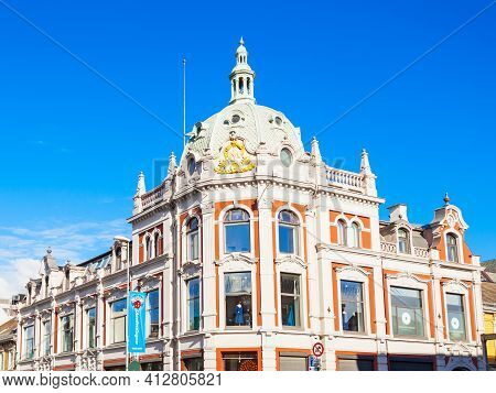 Trondheim, Norway - August 03, 2017: Beauty Building In The Trondheim Old Town, Norway