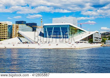 Oslo, Norway - July 20, 2017: The Oslo Opera House Or Operahuset Is The Home Of The Norwegian Nation