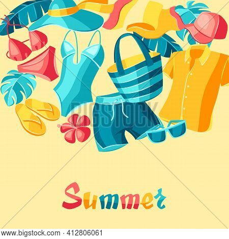 Background With Beachwear And Swimwear. Summer Clothes And Accessories.