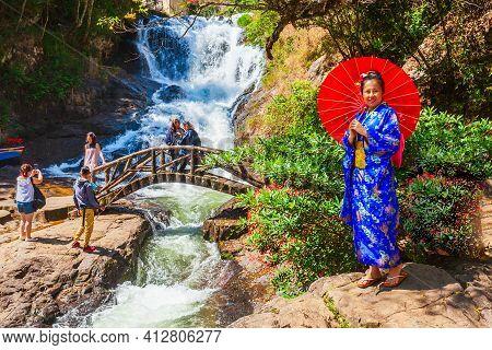Dalat, Vietnam - March 12, 2018: Datanla Waterfall Located Near The Dalat City In Vietnam