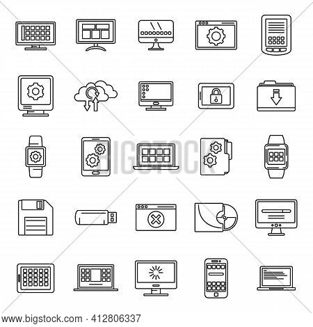 Software Operating System Icons Set. Outline Set Of Software Operating System Vector Icons For Web D