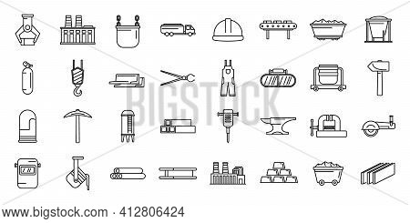 Metallurgy Industry Icons Set. Outline Set Of Metallurgy Industry Vector Icons For Web Design Isolat