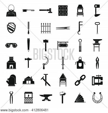 Blacksmith Icons Set. Simple Set Of Blacksmith Vector Icons For Web Design On White Background