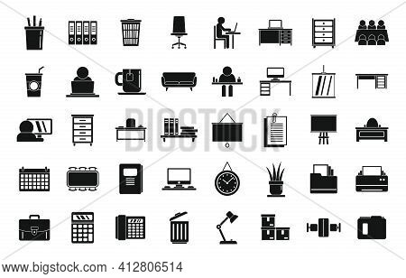 Space Organization Icons Set. Simple Set Of Space Organization Vector Icons For Web Design On White
