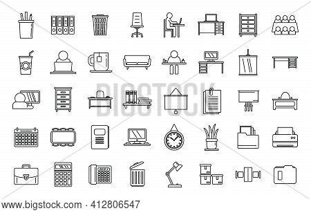 Work Space Organization Icons Set. Outline Set Of Work Space Organization Vector Icons For Web Desig