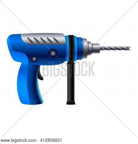 Power Drilling Machine Icon. Cartoon Of Power Drilling Machine Vector Icon For Web Design Isolated O