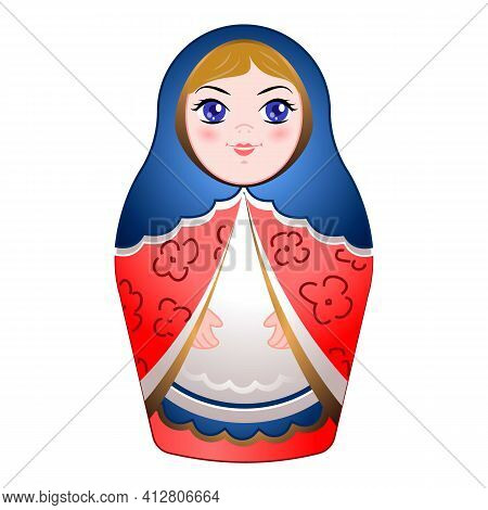 Russian Nested Doll Icon. Cartoon Of Russian Nested Doll Vector Icon For Web Design Isolated On Whit