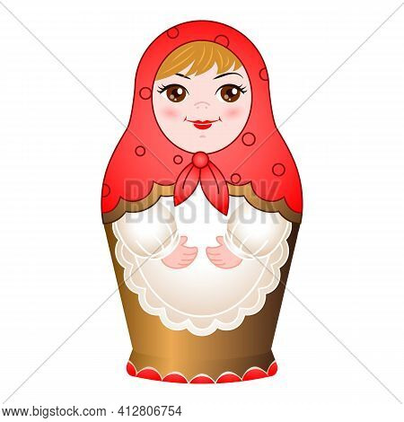 Wooden Nested Doll Icon. Cartoon Of Wooden Nested Doll Vector Icon For Web Design Isolated On White