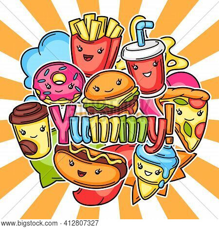 Background With Cute Kawaii Fast Food Meal. Tasty Characters Of Fastfood.