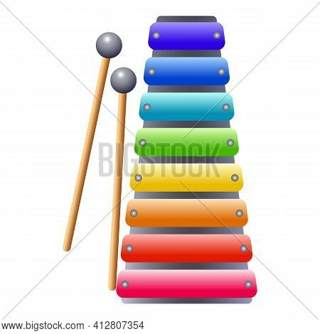 Xylophone Icon. Cartoon Of Xylophone Vector Icon For Web Design Isolated On White Background