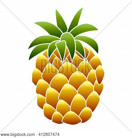Fresh Pineapple Icon. Cartoon Of Fresh Pineapple Vector Icon For Web Design Isolated On White Backgr