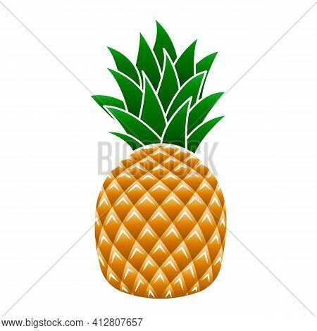 Sweet Pineapple Icon. Cartoon Of Sweet Pineapple Vector Icon For Web Design Isolated On White Backgr