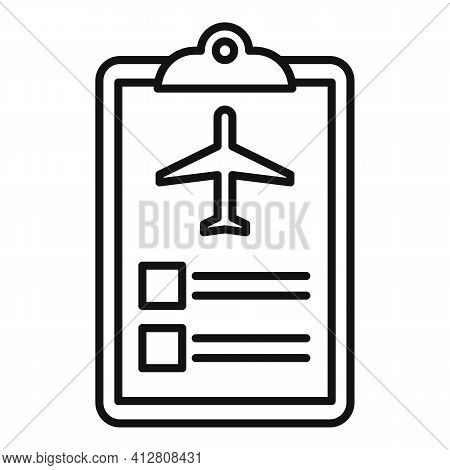Plane Trip Icon. Outline Plane Trip Vector Icon For Web Design Isolated On White Background