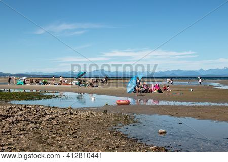 Vancouver Island, Canada - July 19,2020: Miracle Beach Provincial Park Full Of People During The Low