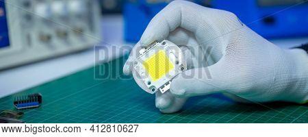 Power led oin electronics laboratory.  energy saving technology