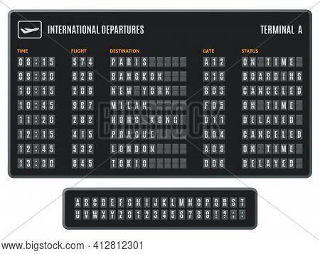 Airport Flip Board. Departures Information Scoreboard, Flipping Arrival Countdown. Scoreboard Flip A
