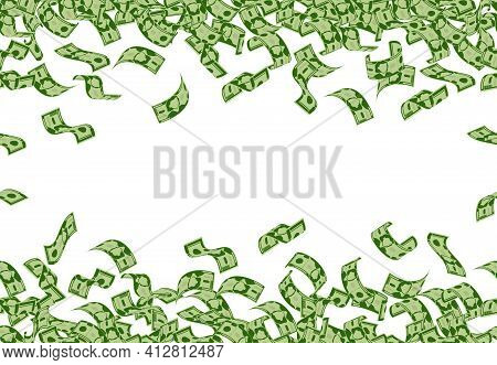 Falling Money Pattern. Dollar Banknotes Flying Seamless Pattern, Cash Money Bills Rain. Falling Doll