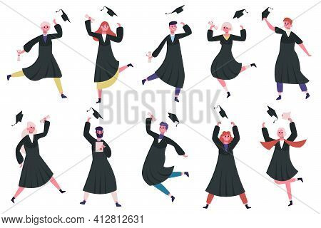 Happy Dancing Graduates. Group Of Celebrating University Or College Graduates. Jumping And Dancing G