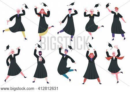 Happy Dancing Graduates. Group Of Celebrating University Or College Graduates. Jumping And Dancing G