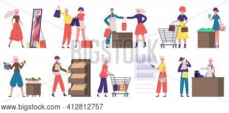 Supermarket Grocery Shopping. Buyers In Grocery Store Or Supermarket, Food Market Shopping. People D