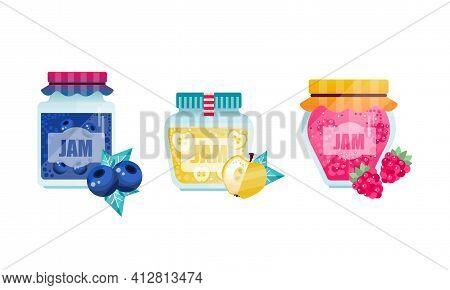 Jam Or Marmalade As Fruit Preserve In Glass Jar Vector Set