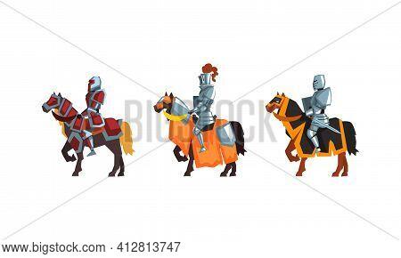 Armored Medieval Knight Or Cavalryman Sitting On Horseback Vector Set