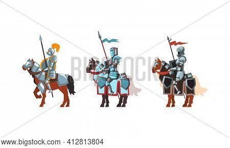 Armored Medieval Knight Or Cavalryman Sitting On Horseback Holding Lance Vector Set