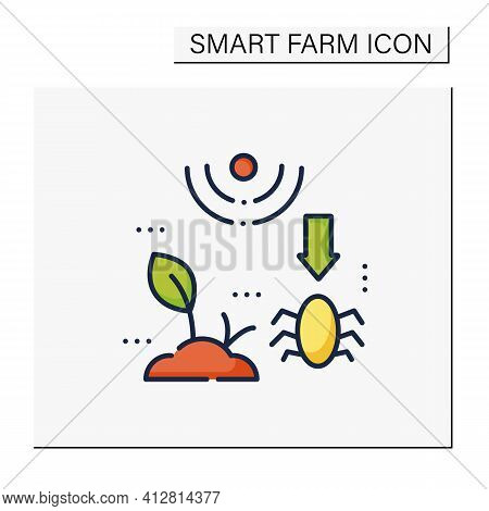 Pests And Weeds Elimination Color Icon. Agriculture Machines Tasks. Crops Protection From Harm. Neut