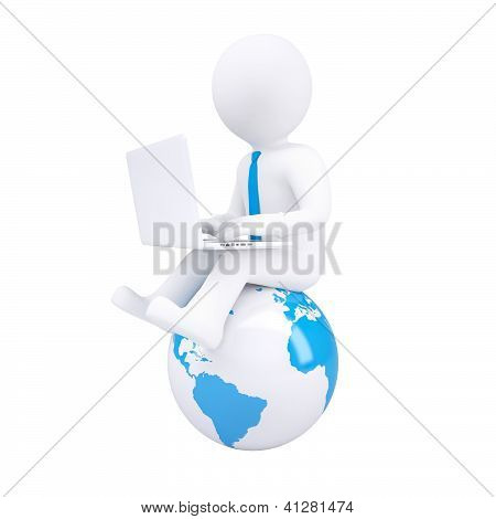 3D White Man With A Laptop
