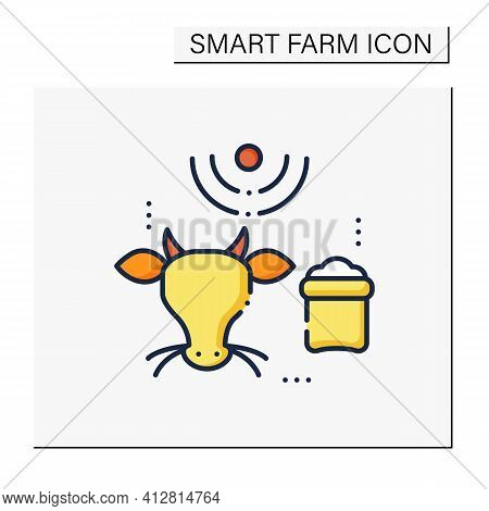 Feeding Livestock Color Icon. Process Of Feeding Cattle. Farm Animal Eating. Grazing Cattle, Livesto