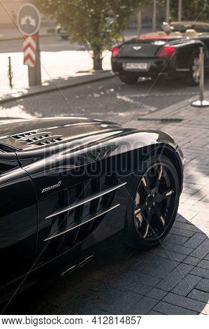 Kyiv, Ukraine - September 2019. Legendary Supercar Mercedes-benz Slr Mclaren And Bentley Continental