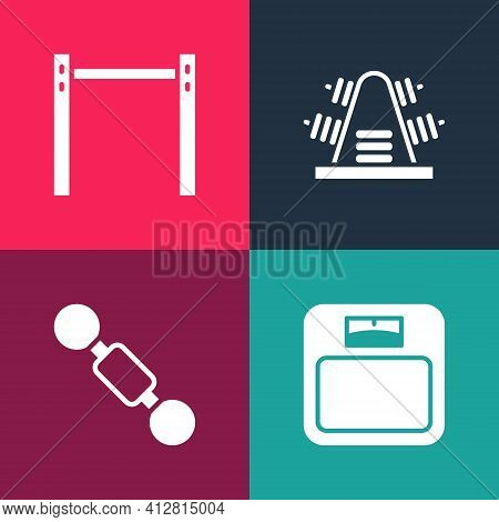 Set Pop Art Bathroom Scales, Dumbbell, Metal Rack With Weights And Horizontal Bar Icon. Vector