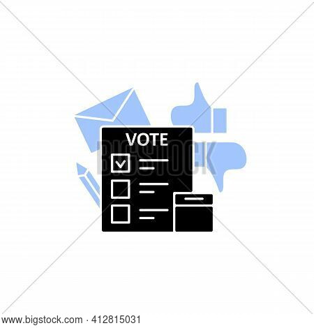 Election Glyph Icon. Voting Form, Ballot Or Checklist With Check Mark.choice, Vote Concept. Democrac