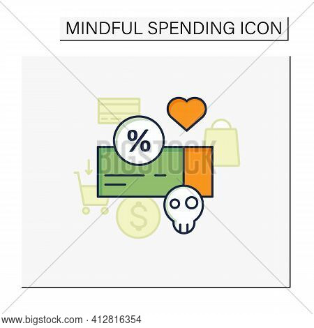 Dependence On Discounts Color Icon. Sales. Discounts Love. Mindful Spending Concept.isolated Vector