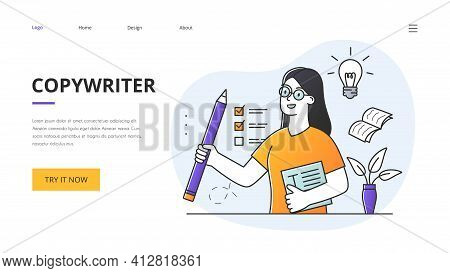 Copywriting Concept With Female Copywriter Holding A Huge Pencil With Checklist On The Wall And Docu