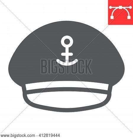 Captain Hat Glyph Icon, Sea And Uniform, Captain Cap Vector Icon, Vector Graphics, Editable Stroke S