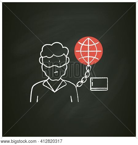 Internet Addition Chalk Icon. Excessive Or Poorly Controlled Dependency Regarding Computer Use And I