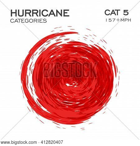 Category 5 Hurricane Infographic Element For Hurricane Breaking News And Warning. Swirl Funnel Of Cl