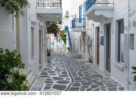 Parikia, Paros Island, Greece - 26 September 2020: Narrow Street Of The Old Town. Traditional, Withe