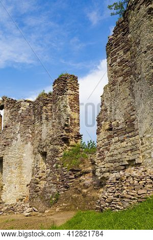 Ruined Medieval Wall. Scenic Ruins Of Ancient Castle Pidzamochok On Sky Background. Buchach Region,