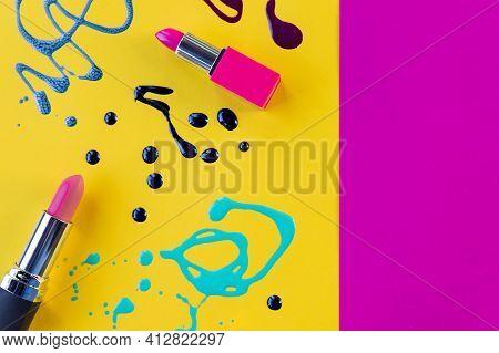 Blots Of Purple, Blue Nail Polish Isolated On Bright Background.nail Polish Splashes. Art Set. Blots