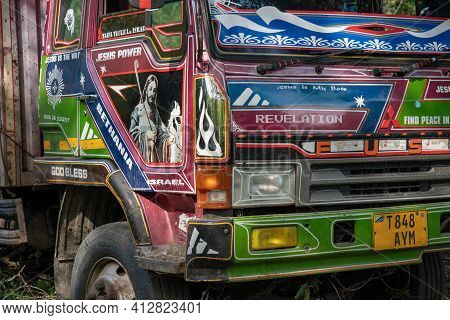 Tanzania, Arusha - Jan 2020: Details Of Heavy Cargo Truck Painted In Gospel Manner In Africa