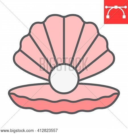 Seashell With Pearl Color Line Icon, Shell And Ocean Animals, Open Seashell Vector Icon, Vector Grap