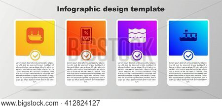 Set Lifeboat, Cruise Ticket, Wave And Beach Pier Dock. Business Infographic Template. Vector