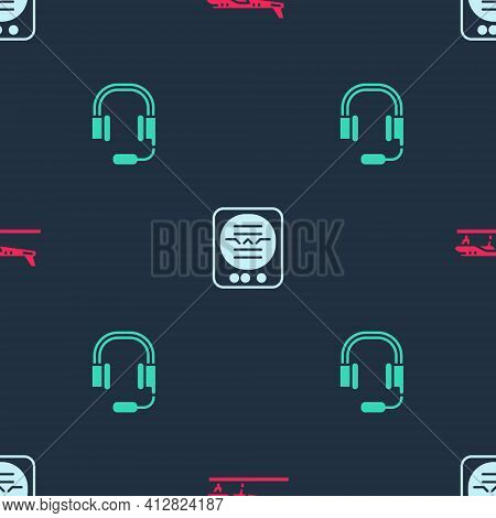 Set Plane, Attitude Indicator And Headphones With Microphone On Seamless Pattern. Vector