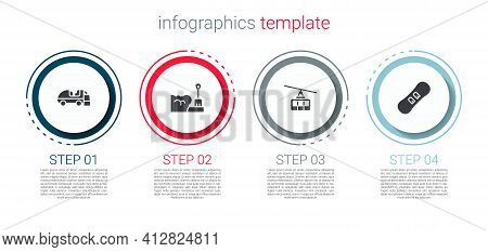 Set Ice Resurfacer, Shovel In Snowdrift, Cable Car And Snowboard. Business Infographic Template. Vec