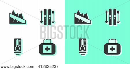 Set First Aid Kit, Mountain Descent, Meteorology Thermometer And Ski And Sticks Icon. Vector